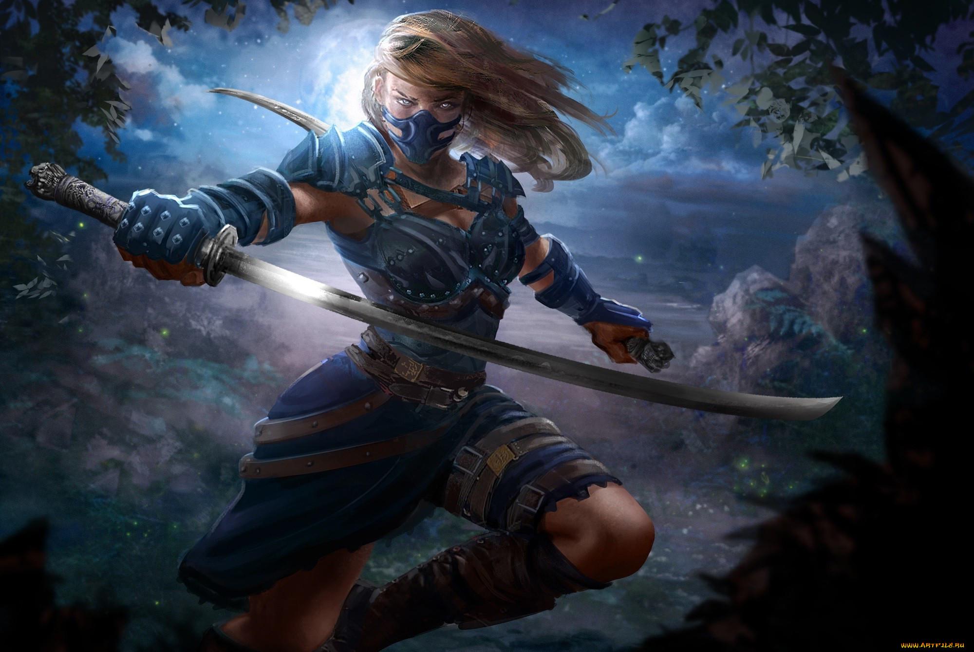 Картинки девушка воин меч